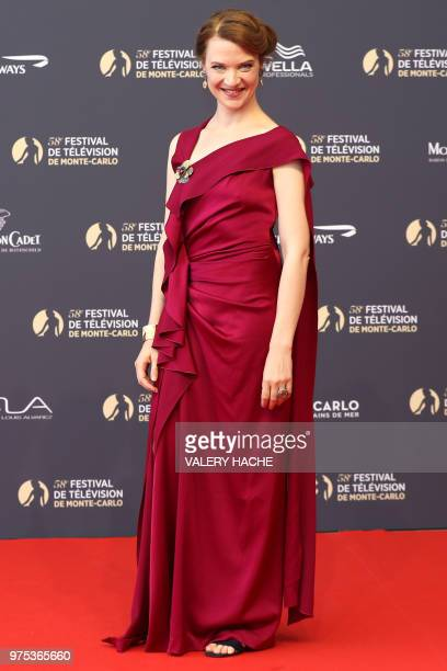 French actress Odile Vuillemin poses during the opening of the 58th Monte-Carlo Television Festival on June 15, 2018 in Monaco.