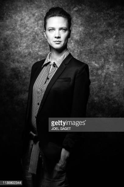 French actress Odile Vuillemin poses for a photo session during the 2nd edition of the Cannes International Series Festival in Cannes, southern...