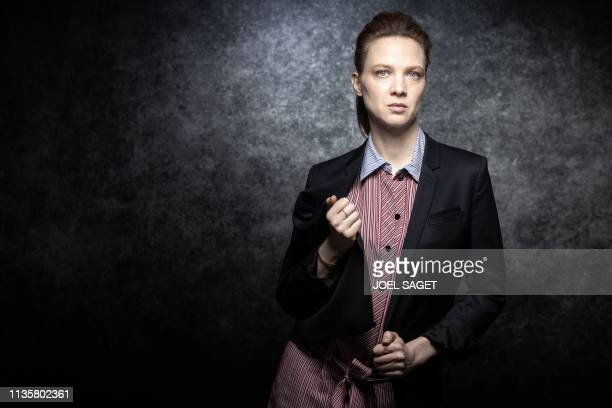 French actress Odile Vuillemin poses for a photo session during the 2nd edition of the Cannes International Series Festival in Cannes southern France...