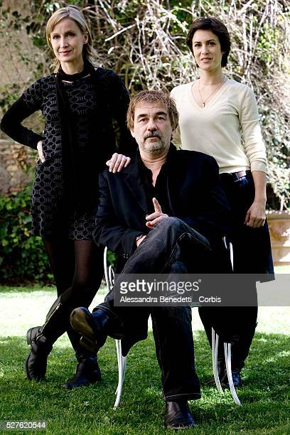French actress Olivia Bonamy writer and director Olivier Marchal and actress Catherine Marchal attend the photocall for the film 'MR 73' in Rome