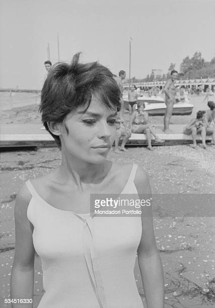 French actress Pascale Petit at the beach during the 19th Venice International Film Festival Venice August 1958