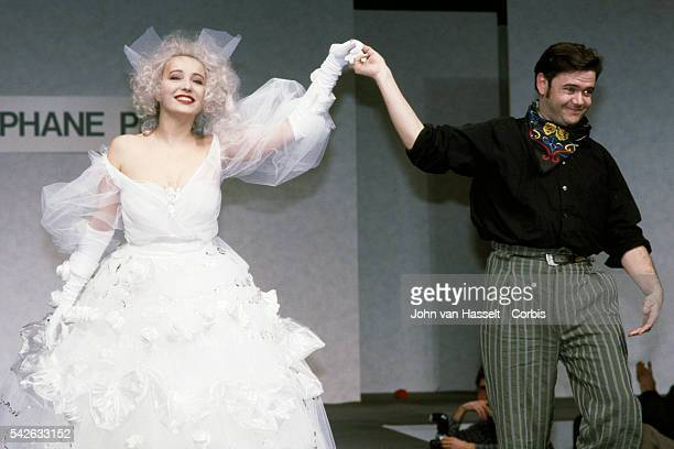 French actress Pauline Lafont on the catwalk, wears the wedding dress created by fashion designer Stephane Plassier.