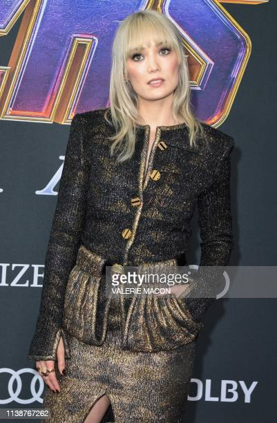 French actress Pom Klementieff arrives for the World premiere of Marvel Studios' 'Avengers Endgame' at the Los Angeles Convention Center on April 22...