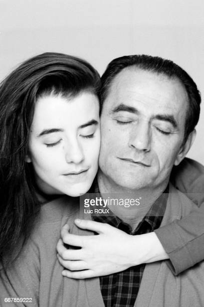 French actress Romane Bohringer posing with her father actor Richard Bohringer