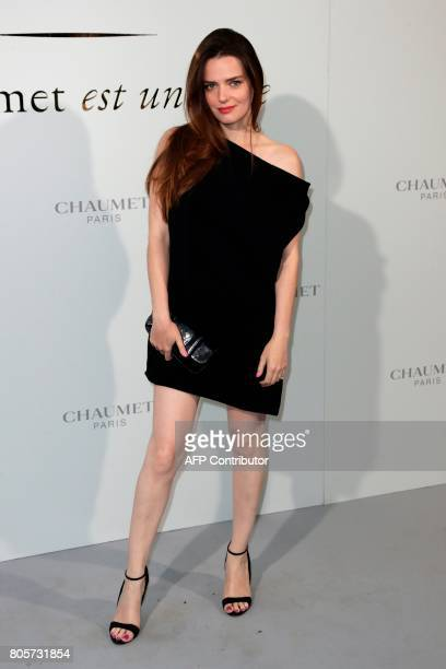 French actress Roxane Mesquida poses during a photocall as part of an event organised by French jeweller Chaumet on July 2 2017 in Paris / AFP PHOTO...