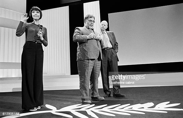 French actress Sabine Azema American director and president of the jury Francis Ford Coppola and Gilles Jacob during a rehearsal for the Cannes Film...