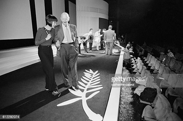 French actress Sabine Azema and Gilles Jacob during a rehersal for the ceremonies of the Cannes Film Festival.