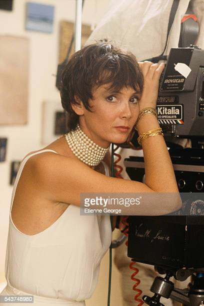 """French actress Sabine Azéma on the Set of """"Vanille Fraise,"""" directed by Gérard Oury."""