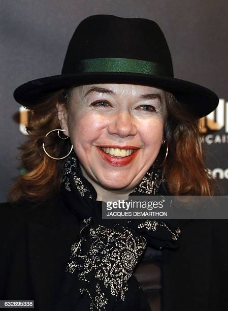 French actress Sabine Haudepin poses as she arrives at the Cinematheque Francaise for the opening of an exhibition dedicated to the work of British...