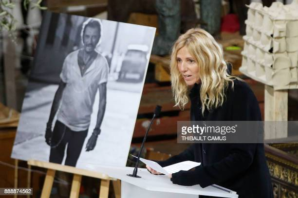 French actress Sandrine Kiberlain speaks during the funeral ceremony in tribute to the late French singer Johnny Hallyday at La Madeleine Church in...
