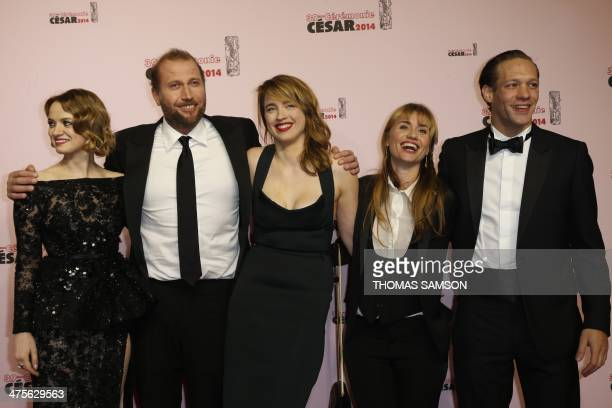 French actress Sara Forestier Belgian actor François Damiens French actress Adele Haenel director Katell Quillevere and actor Paul Hamy pose as they...