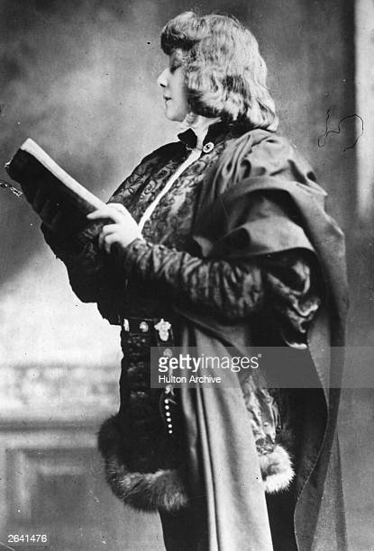French actress Sarah Bernhardt in the role of Hamlet a play written by William Shakespeare