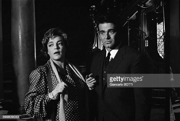 French actress Simone Signoret and American actor Stuart Whitman on the set of the movie 'Le Jour et l'Heure' directed by René Clément in France in...