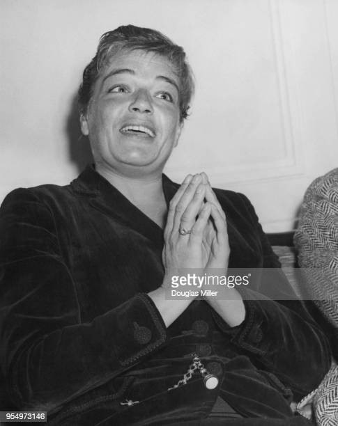 French actress Simone Signoret at the Savoy Hotel in London 26th August 1957 She is in the capital to attend the opening of her latest film 'Les...