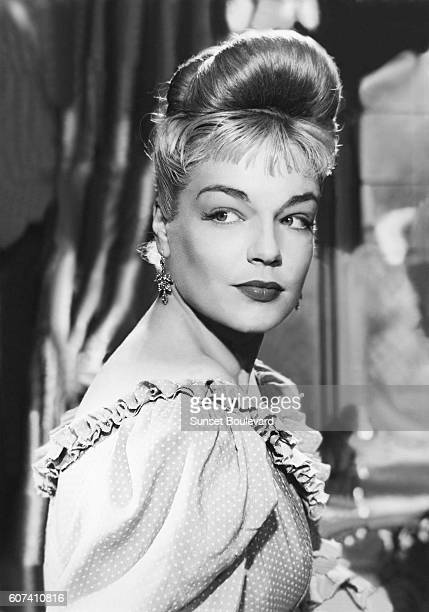 French actress Simone Signoret on the set of Casque d'Or written and directed by Jacques Becker