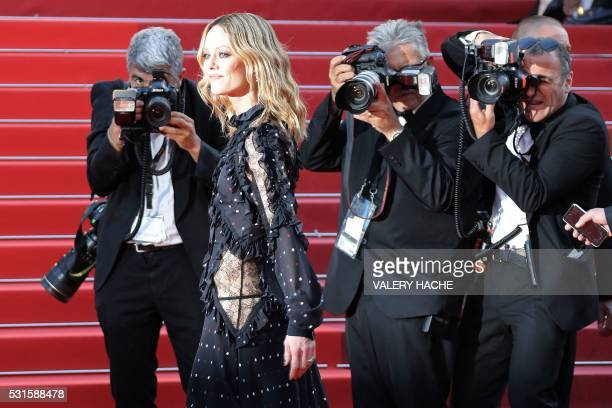 """French actress / singer and member of the Jury Vanessa Paradis poses as she arrives on May 15, 2016 for the screening of the film """"Mal de Pierres """"..."""