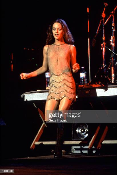 French actress singer and model Vanessa Paradis sings on stage March 9 1993
