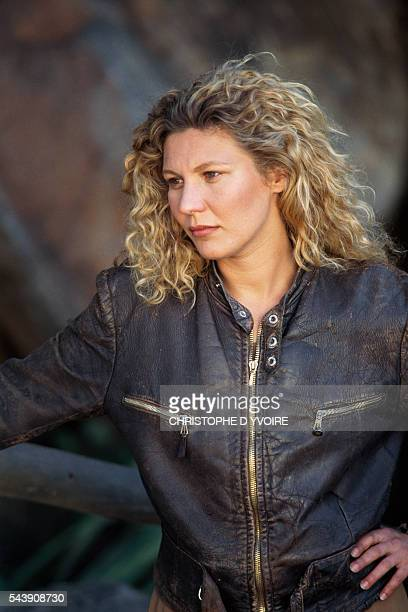 French actress Solveig Dommartin on the set of the film Bis ans Ende der Welt directed by Wim Wenders