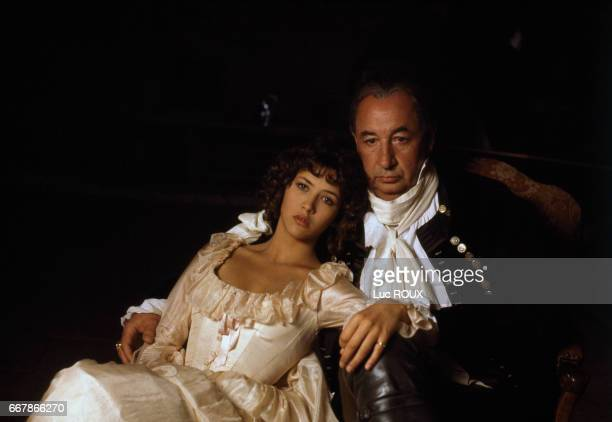 French actress Sophie Marceau and French actor Philippe Noiret on the set of Chouans!, directed by Philippe de Broca.