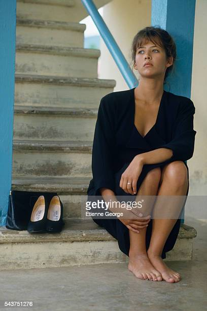 French actress Sophie Marceau on the set of the film 'Descente aux Enfers' directed by French director Francis Girod and based on David Goodis' novel...