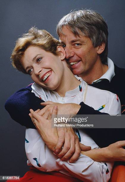 French actress Sylvia Kristel popular star of the Emmanuelle films and movie director Just Jaeckin hugging Jaeckin directed the 1981 French film Lady...