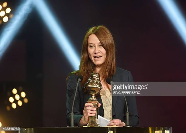 """French actress Valerie Dreville speaks after being awarded the """"Best actress in a public play"""" Moliere Theater Award for her role in """"Les revenants"""",..."""