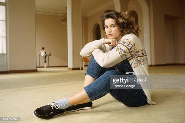 French actress Valerie Kaprisky on the set of the film Aphrodite directed by Englishman Robert Fuest and based on a Pierre Louys's novel by the same...