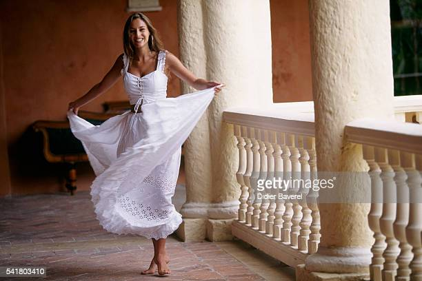 French actress Vanessa Demouy during the filming of television series Aventures Caraibes