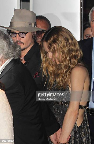 French actress Vanessa Paradis and American actor Johnny Depp attend the 63rd Cannes Film Festival on May 18 2010 in Cannes France