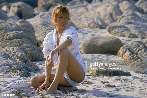 French actress Veronique Jannot takes a vacation on the beaches of Propriano She has finished filming her starring role in the Algerian film La...