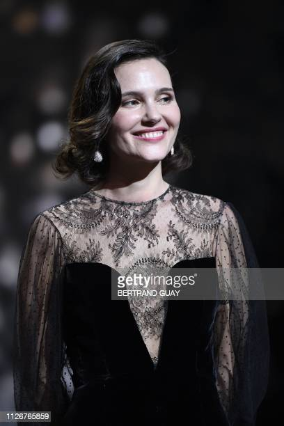 French actress Virginie Ledoyen smiles on the stage of the 44th edition of the Cesar Film Awards ceremony at the Salle Pleyel in Paris on February 22...