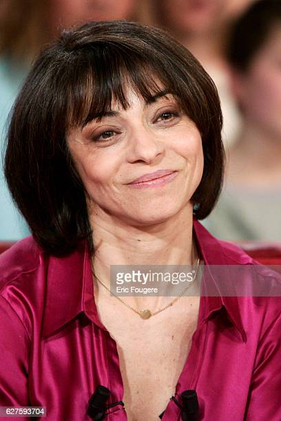 French actress writer and TV presenter Leslie Bedos on the set of the TV show Vivement Dimanche