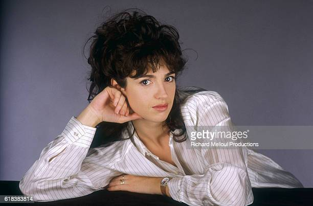 French Actress Zabou Breitman leans her head on her hand