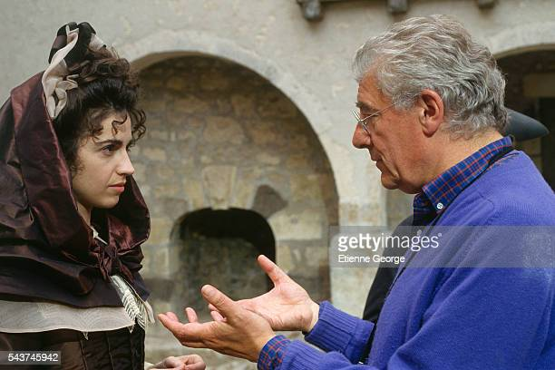 French actress Zabou directed by French director Roger Planchon on the set of his film 'Dandin' based on Moliere's play 'Georges Dandin'