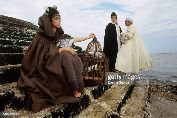 French actress Zabou Swiss actress Nelly Borgeaud and French actor Daniel Gelin on the set of his film Dandin based on Georges Dandin Molière play