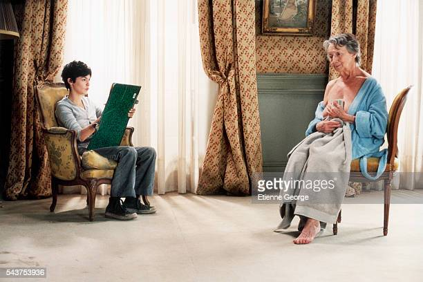 French actresses Audrey Tautou and Françoise Bertin on the set of the film 'Ensemble c'est tout' directed by Claude Berri and based on Anna Gavalda's...
