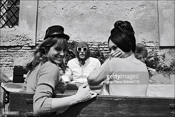 French actresses Brigitte Bardot and Nathalie Delon with Gunther Sachs on the set of the movie Spirits of the Dead directed by Roger Vadim Louis...