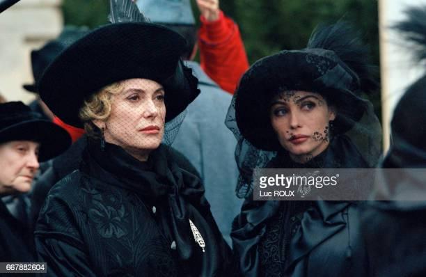 French actresses Catherine Deneuve and Emmanuelle Beart on the set of the film Le Temps Retrouve d'Apres l'Oeuvre de Marcel Proust directed by Raoul...