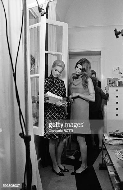 French Actresses Catherine Deneuve And Irene Tunc On The Set Of The Movie 'La Chamade' Directed By Alain Cavalier in Paris France in May 1968