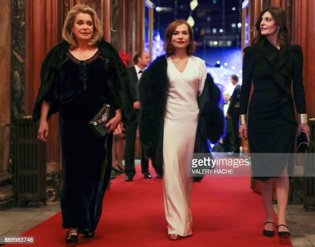 French actresses Catherine Deneuve and Isabelle Huppert and Deneuve's daughter Chiara Mastroianni arrive for a Surrealist Dinner Party at the Monte...