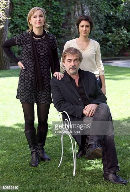 French actresses Catherine Marchal and Olivia Bonamy and director Olivier Marchal attend the 'MR 73 L'Ultima Missione' photocall at the French...