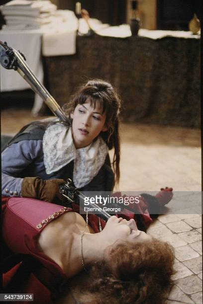 French actresses Charlotte Kady and Sophie Marceau on the set of the film La fille de d'Artagnan directed by French director Bertrand Tavernier
