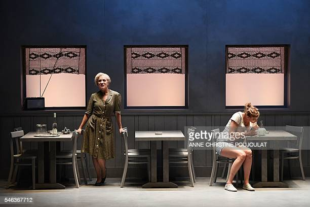 French actresses Claire Aveline and Manon Raffaelli perform during a rehearsal of the play 'Truckstop' directed by French director Arnaud Meunier on...