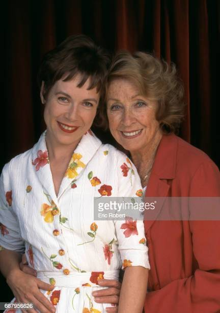 French actresses Danielle Darrieux and Sonia Vollereaux pose for JeanClaude Sussfeld's play Ma Petite Fille mon amour directed by Yves Le Moigne with...