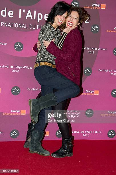 French Actresses Helena Nogera and Anne Depetrini attend 'La Clinique De L'Amour' Photocall during the 15th L'Alpe D'Huez International Comedy Film...