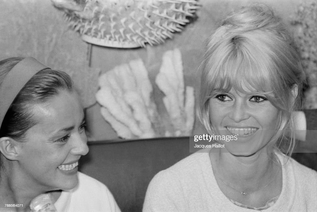 French actresses Jeanne Moreau and Brigitte Bardot attend the 18th Cannes Film Festival.