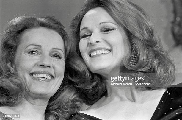 French actresses Jeanne Moreau and Lucia Bose costars of the 1976 film Lumiere which Jeanne Moreau also directs