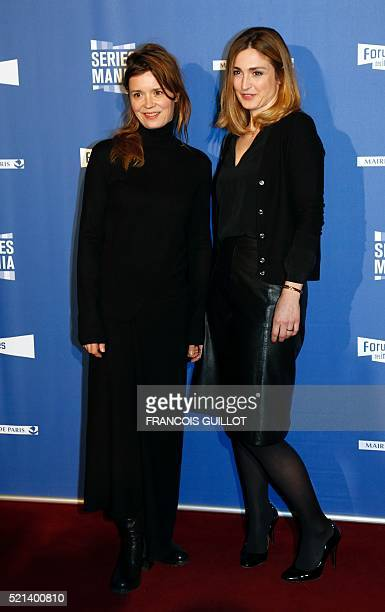 French actresses Julie Gayet and Caroline Proust pose during the opening ceremony of the series mania festival in Paris on April 15 2016 / AFP /...
