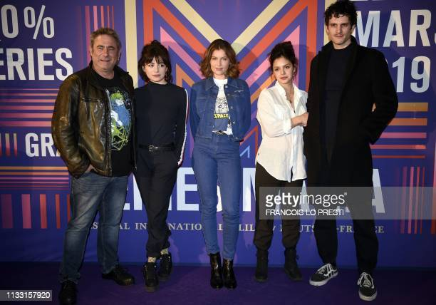 French actresses Laetitia Casta Noee Abita and Alba Gaia Bellugi French actor Manuel Severi and Spanish actor Sergi Lopez pose during a photocall for...