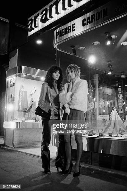French actresses Maria Schneider and Miou Miou on the set of La Derobade written and directed by Daniel Duval